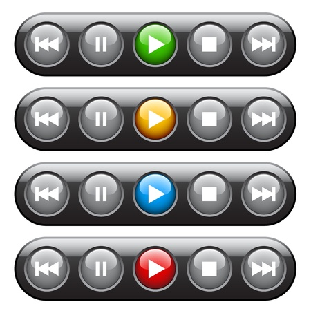 back button: vector player panel Illustration