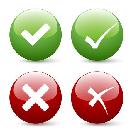 vector de la marca de verificación botones