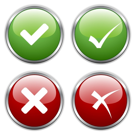 garrapata: vector de los botones de activación de marca Vectores