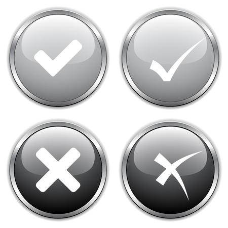 cross process: vector check mark buttons