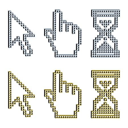 mouse cursor: vector 3D pixel cursors Illustration