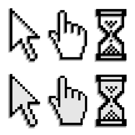 cursor hand: vector pixel cursors with real blurred shadow