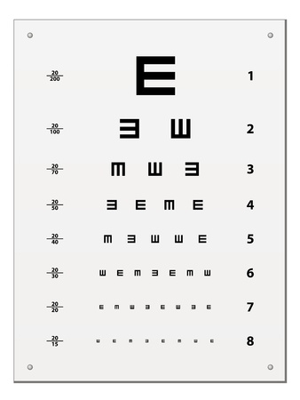 test glass: vector Snellen eye test chart