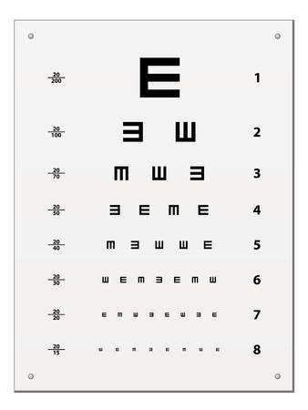 vector Snellen oog testkaart Vector Illustratie
