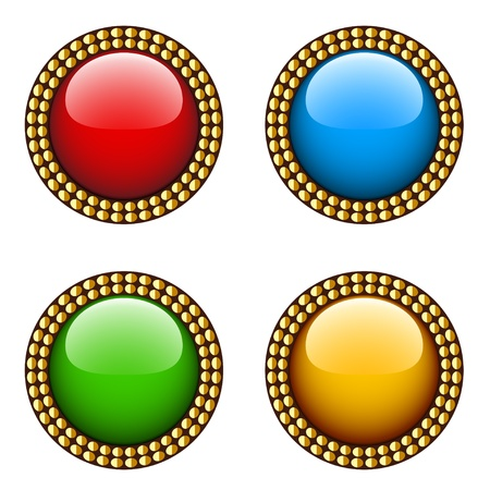 green and gold: Vector vintage glossy buttons