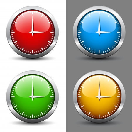 clockwise: vector clock faces Illustration