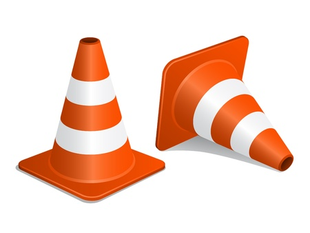 traffic signal: vector traffic cones with shadow