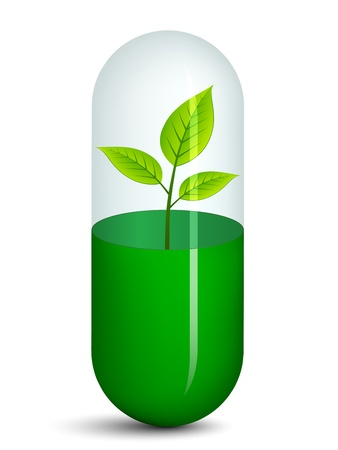vector pill with plant Stock Vector - 11525309