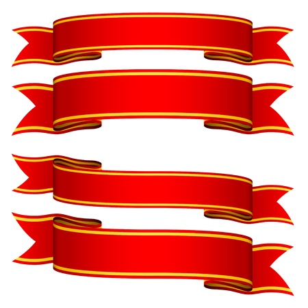 empty banner: vector red ribbons