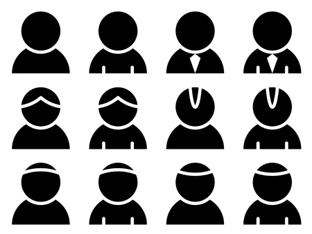 vector black person icons Illustration
