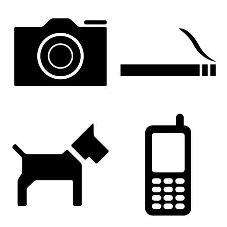 sigaretta: vettore cane fotocamera sigarette telefono icone