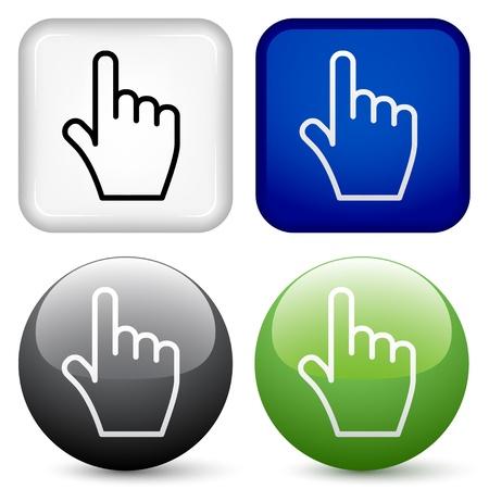 botones de vectores de la mano Ilustración de vector