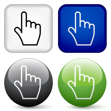 white pointer: vector hand buttons Illustration