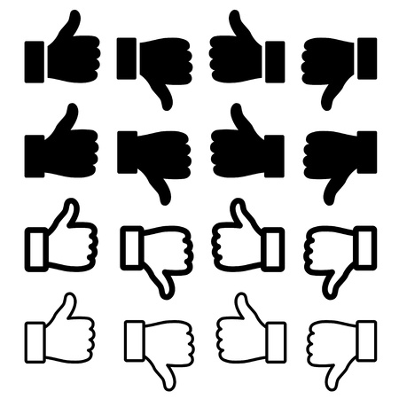 thumbs up icon: vector thumbs up set