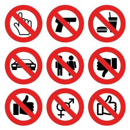 pictogram attention: vector no allowed marks