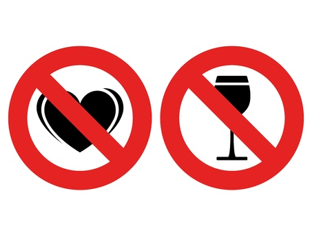 forbidden pictogram: vector no allowed love and alcohol marks