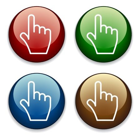 click icon: vector hand buttons Illustration