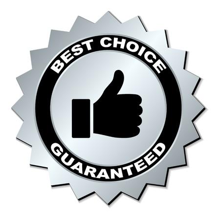 silver circle: vector best choice guaranteed label