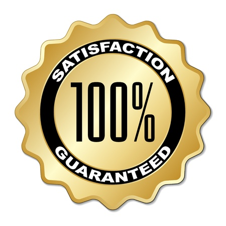quality service: vector satisfaction guaranteed label