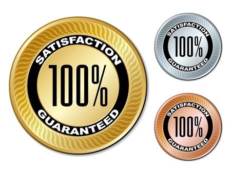 silver service: vector satisfaction guaranteed labels Illustration