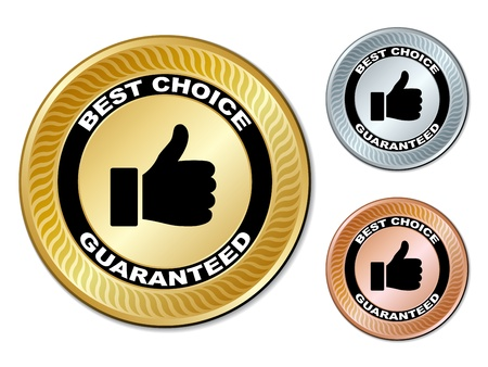 gold silver bronze: vector best choice guaranteed labels Illustration