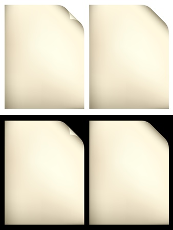 yellowed: vector yellowed papers
