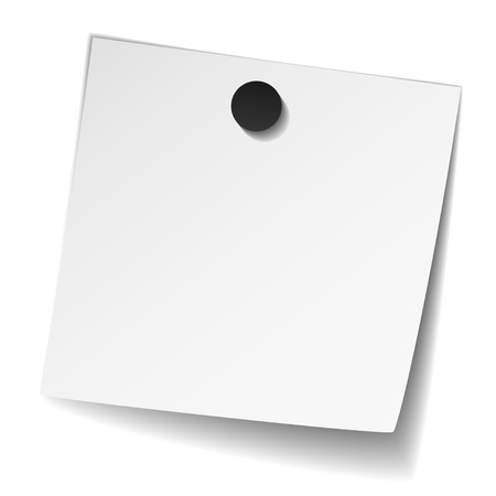 attachments: vector white note paper with magnet