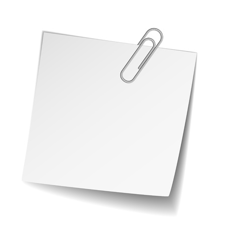 vector white note paper with paperclip Vector