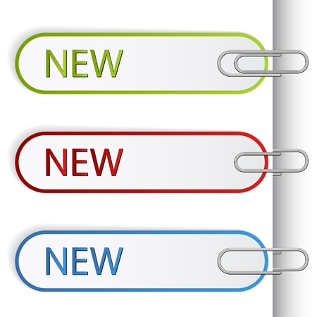 vector new sign labels with paperclips Vector