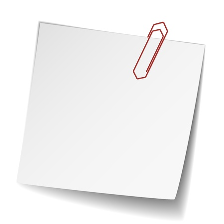 vector white note paper with paperclip Stock Vector - 11520191