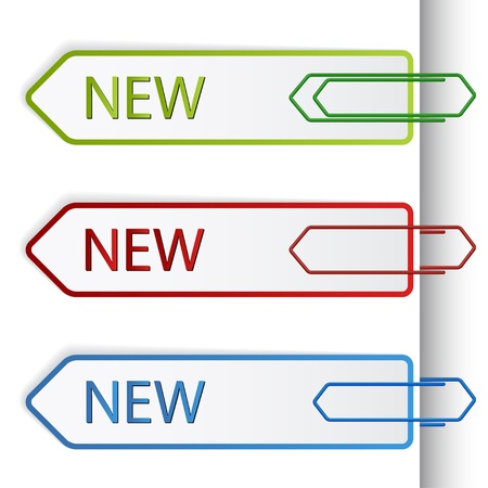 paperclip: vector new sign labels with paperclips Illustration