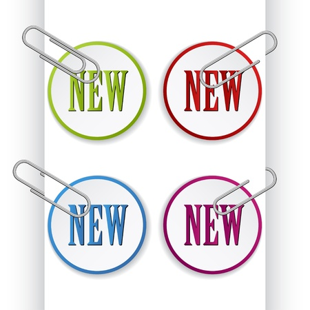 office product: vector new sign labels with paperclips Illustration