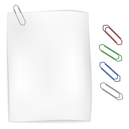 vector white wavy paper with paperclip Stock Vector - 11520630