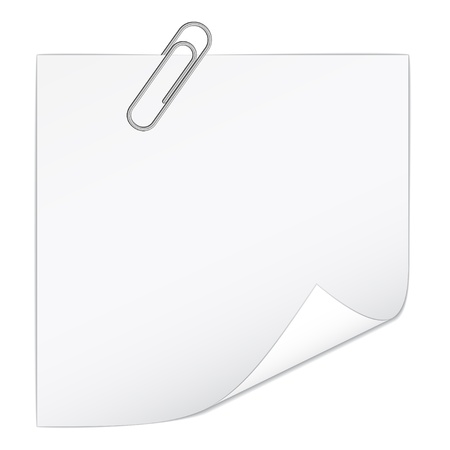 paper fastener: vector white note paper with paperclip