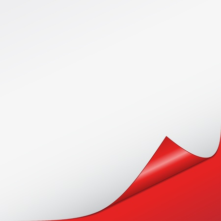 turn back: vector white bended paper with red background