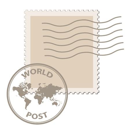 timbre postal: vector sello de correos en blanco con matasellos de correos mapa del mundo Vectores