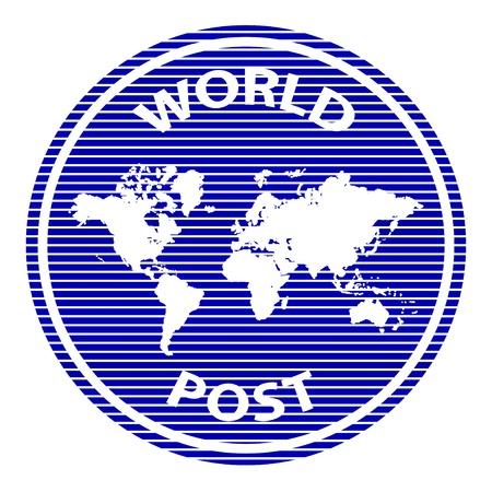 vector mundo abstracto posterior sello de goma