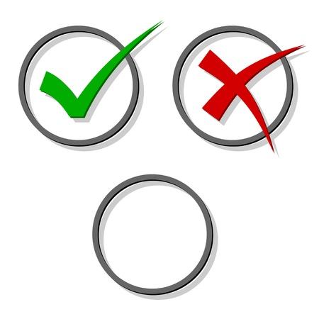 las marcas de verificación de vectores