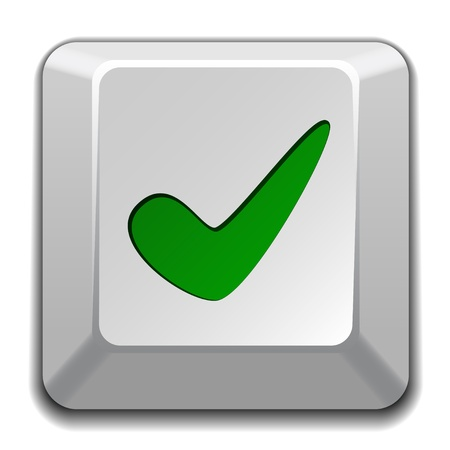 green tick: vector positive checkmark key Illustration