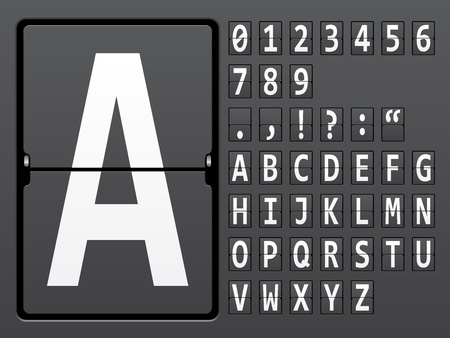 display type: vector alphabet of mechanical panel