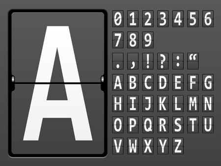 indicator board: vector alphabet of mechanical panel