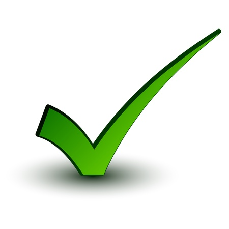 garrapata: vector verde marca positiva Vectores