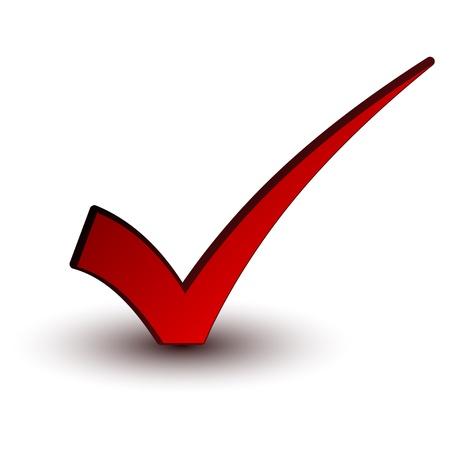 to tick: vector positivo rojo marca