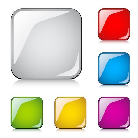 forme carre: vecteur boutons glossy Illustration