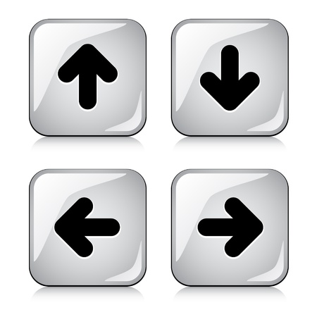 rounded squares: vector glossy arrow buttons