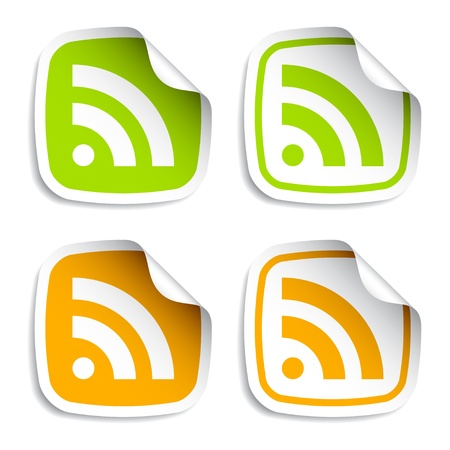 rss feed icon: vector rss stickers Illustration