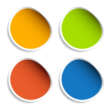 curled edges: adesivi vettoriale in bianco