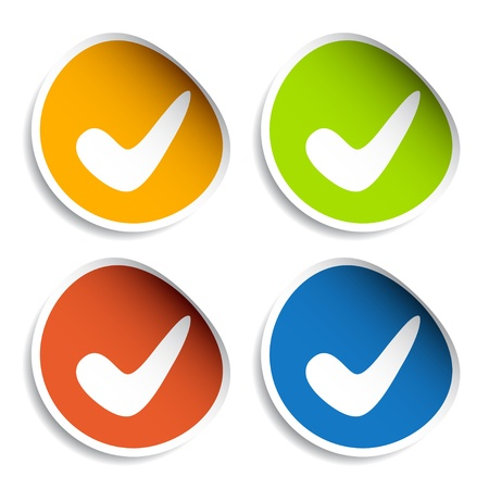 ticks: vector positive checkmark stickers