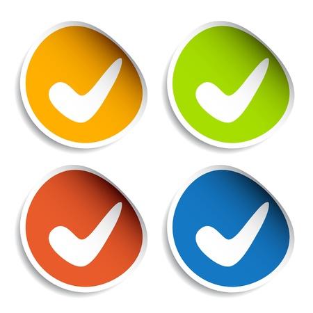 garrapata: vectores positivos pegatinas marca de verificación