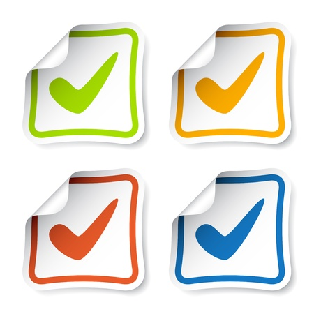 vector positive checkmark stickers Vector
